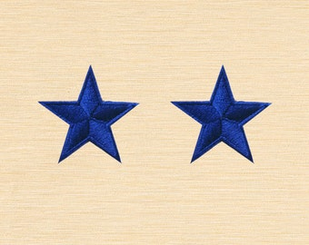 Set of 2 pcs Mini Navy Blue Star Iron On Patches Sew On Appliques