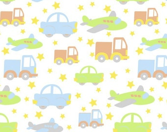Transportation Flannel Fabric by the yard/blue/boys fabric/airplane fabric/david textiles/baby fabric/choose your cut