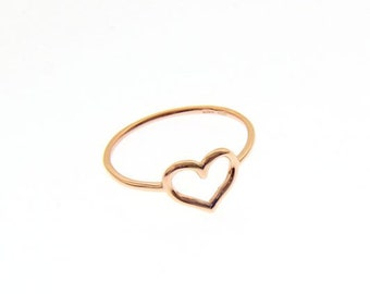 750/000 Gold heart ring in rose gold, white and yellow