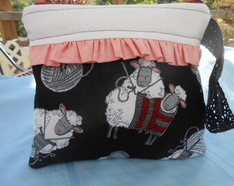 Whimsical sheep clutch, Sheep pouch, Ruffled clutch, Ruffled pouch, Ruffled wristlet, Sheep fabric