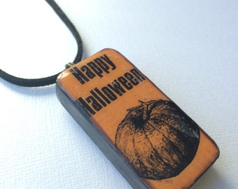 Halloween jewelry Halloween necklace gothic vintage necklace pumpkin orange Happy Halloween