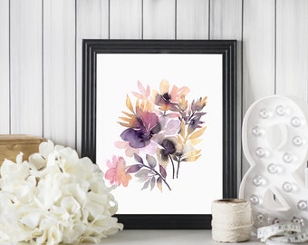 WATERCOLOR FLOWERS PRINT Midsummer meadow // Pink and Purple Flowers poster // 8x10 inch print // Abstract floral wall art // Home Decor
