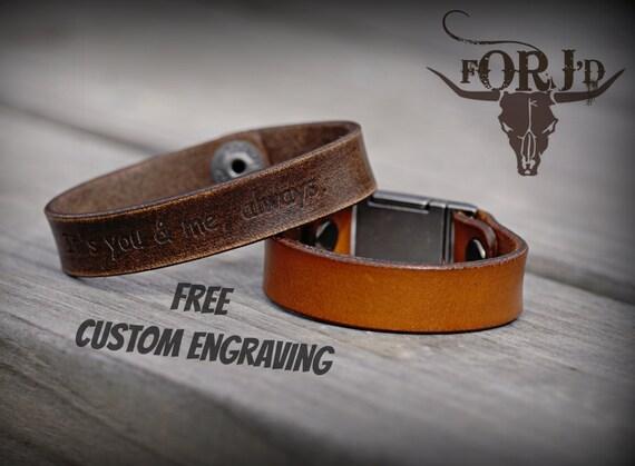 Genuine Leather Bracelet, Engraved Leather Bracelet, Men's Leather Bracelet, Women's Leather Bracelet