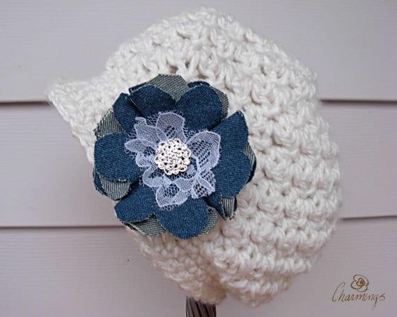Cream Newsboy Slouch Hat, Slouch Hat with Flower Pin, Girls Slouch Hat, Teen Tween Fashion Hat, Shabby Chic Denim Flower Brooch, Boho Hat