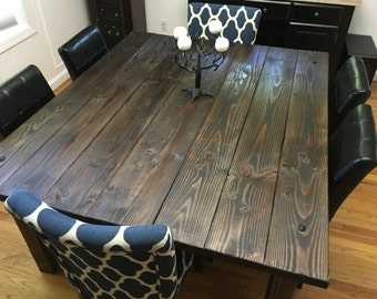 Farmhouse Dining Table with decorative bolt and brackets