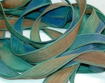 """1PC. PEACOCK 42"""" hand dyed wrist wrap bracelet silk ribbon//Yoga wrist wrap bracelet ribbons//Hand dyed Boho Silk wrist wrap ribbon"""
