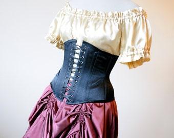 50% OFF Black Underbust Corset black waist cincher gothic clothing pirate wench ren faire costumes fetish vampire sexy burlesque masquerade