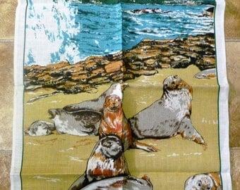 """Vintage Souvenir Pure Linen """"Australian Seals"""" Tea Towel/Collectible Tea Towels/Wall Hanging/Retro Tea Towel/Greetings Tea Towel/Ross"""