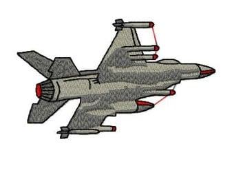 Jet Fighter Plane Machine Embroidery Design, Instant Download, 4x4 Hoop, 6 Formats