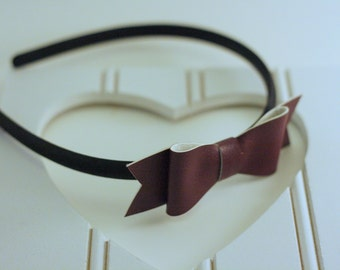Faux Leather Classic Bow Headband