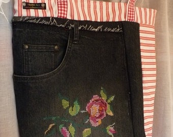 Shopper, jeans bag 'Rose', market bag, very large embroidered