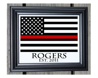 Firefighter Gift Cotton Print | Thin Red Line | Firefighter Gift | Gift For Fireman | Firefighter | American Flag Red Line | Last Name Est