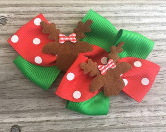Christmas Bows / Christmas Pig Tails Bow / Christmas Hairbows / Reindeer Bows