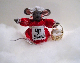 Let it Snow felt mouse Christmas ornament with snowballs