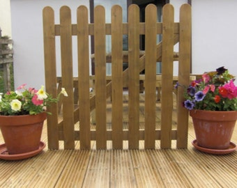 Picket Gate 3ft x 3ft Round Top Treated Wooden Garden Gates Wood High Quality Handmade In Devon