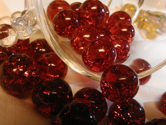 2 Red Marbles : Cracked clear red glass marbles inch from