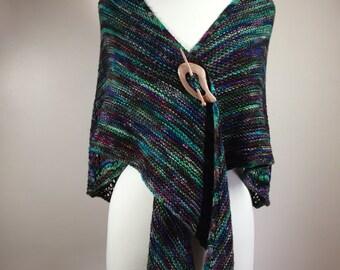 Multicolor shawl, hand knit shawl, wool shawl, lacy shawl, woman's shawl, feminine shawl, colorful shawl, bluish green shawl