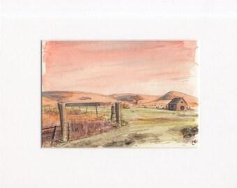 5x7 original watercolor of landscape