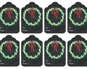 DIY Printable Christmas Gift Tags - Christmas Wreath Watercolour on Chalkboard