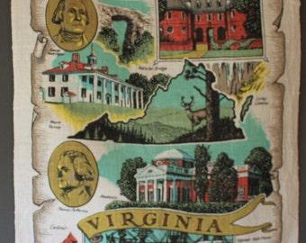 Vintage Virginia USA Tea Towel