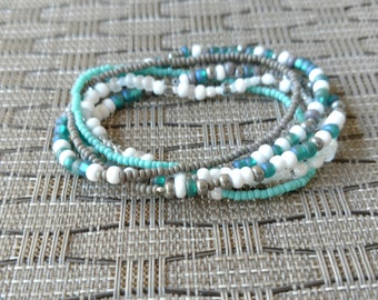 Gray and Turquoise Beaded Stretch Bracelet