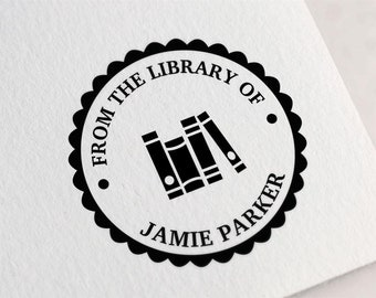 Custom Library Stamp, From the Library of Stamp, Book Stamp, Ex Libris Stamp, Bookplate Stamp, Gifts for Book Lovers, Teacher Gift Z5