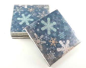 Distressed Snowflake Coasters – Christmas Coasters – Distressed Coasters – Drink Coasters – Housewarming Gift – Ceramic Coasters