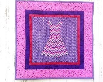 Pink Chevron Dress Wall Quilt