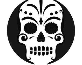 Iron on heat transfer DIY HTV vinyl Skull day of the dead Halloween Custom