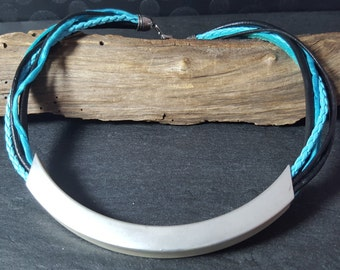 Leather necklace turquoise black