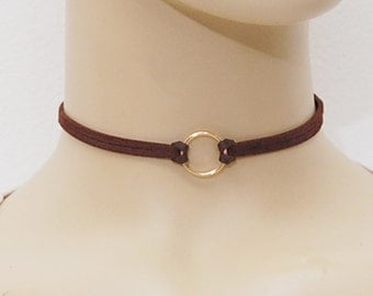 O-Ring Suede Leather Choker Necklace, Suede Choker Necklace, Thin Choker Necklace, Choker necklace