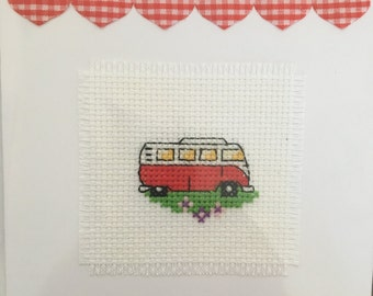 Handmade greeting card with cross stitched camper van detail. Blank inside for your own message.