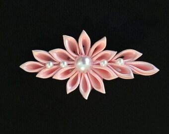 Girls Handmade Light Pink Kanzashi Flower Hair Clip - Kanzashi Hair Clip - Light Pink Hair Clip - Girls Hair Clip - Pink and Pearls