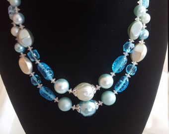 Vintage Blue Green Double Strand Japan Necklace