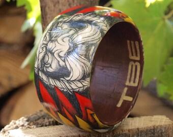 Viking handpainted wooden bangle