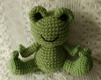 Handmade Crochet Green Frog Toy
