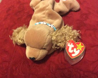 """Retired RARE Mint condition Ty """"Spunky"""" with beaded necklace beanie baby"""