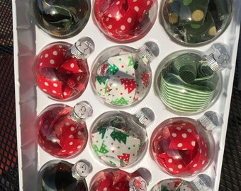 Fabric filled glass ornaments