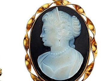 """Estate 14K HEAVY Yellow Gold Vintage Hardstone Cameo Pendant Convertible Brooch Pin Victorian 1-1/2"""" long 10.1g marked 14 k Black Background"""