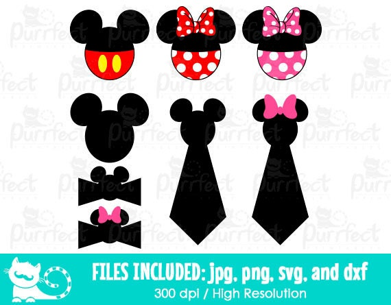 Mickey And Minnie Bow And Ties Svg Disney Mickey And