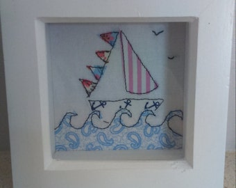 Handmade 'Sail away' sewn boat gift frame. Can be personalised