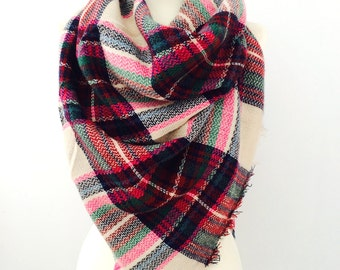 Plaid Blanket Scarf, Winter Scarf, Plaid Scarf, Tartan Scarf, Blanket Plaid Scarf, Oversized Scarf, Plaid Blanket Scarf Wool