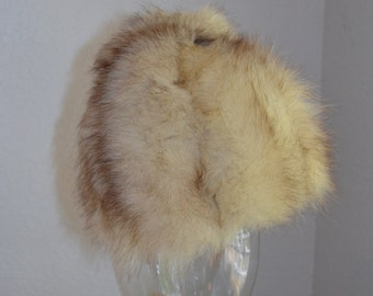 White and black fox fur cloche style hat