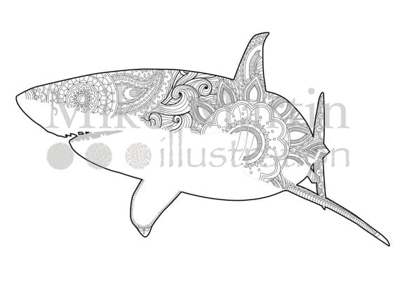 Printable Great White Shark coloring page Instant download