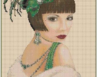 Art Deco Lady in Green #1-2c