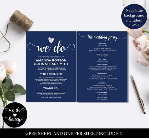 Editable Wedding Program Navy Blue - Wedding program templates  - Navy blue menu -  Downloadable wedding program templates #WDH0050