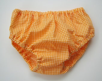 Orange Gingham Diaper Cover
