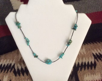Turquoise Chips, Howlite Nugget, Hematite Necklace