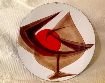 """Plate in email """"Anita Trottier"""" signed - stylized bird and Sun - Quebec artist - 1970s art trades / / made in Quebec"""