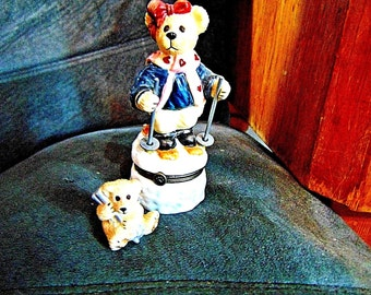 BOYDS BEARS LIMITED First Edition Ski Bear Trinket Dresser Box Collectible